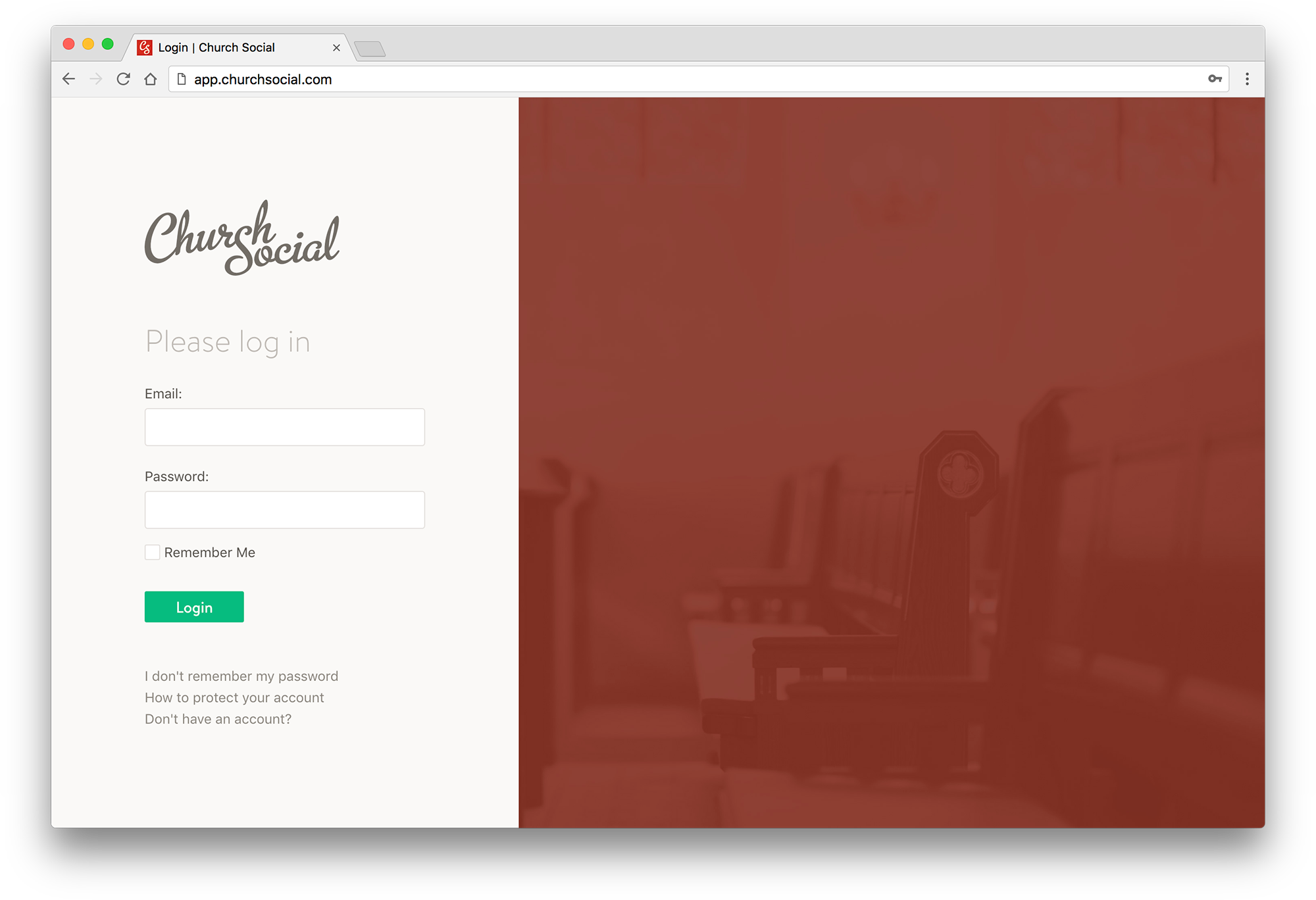 Screenshot of the redesigned Church Social login page