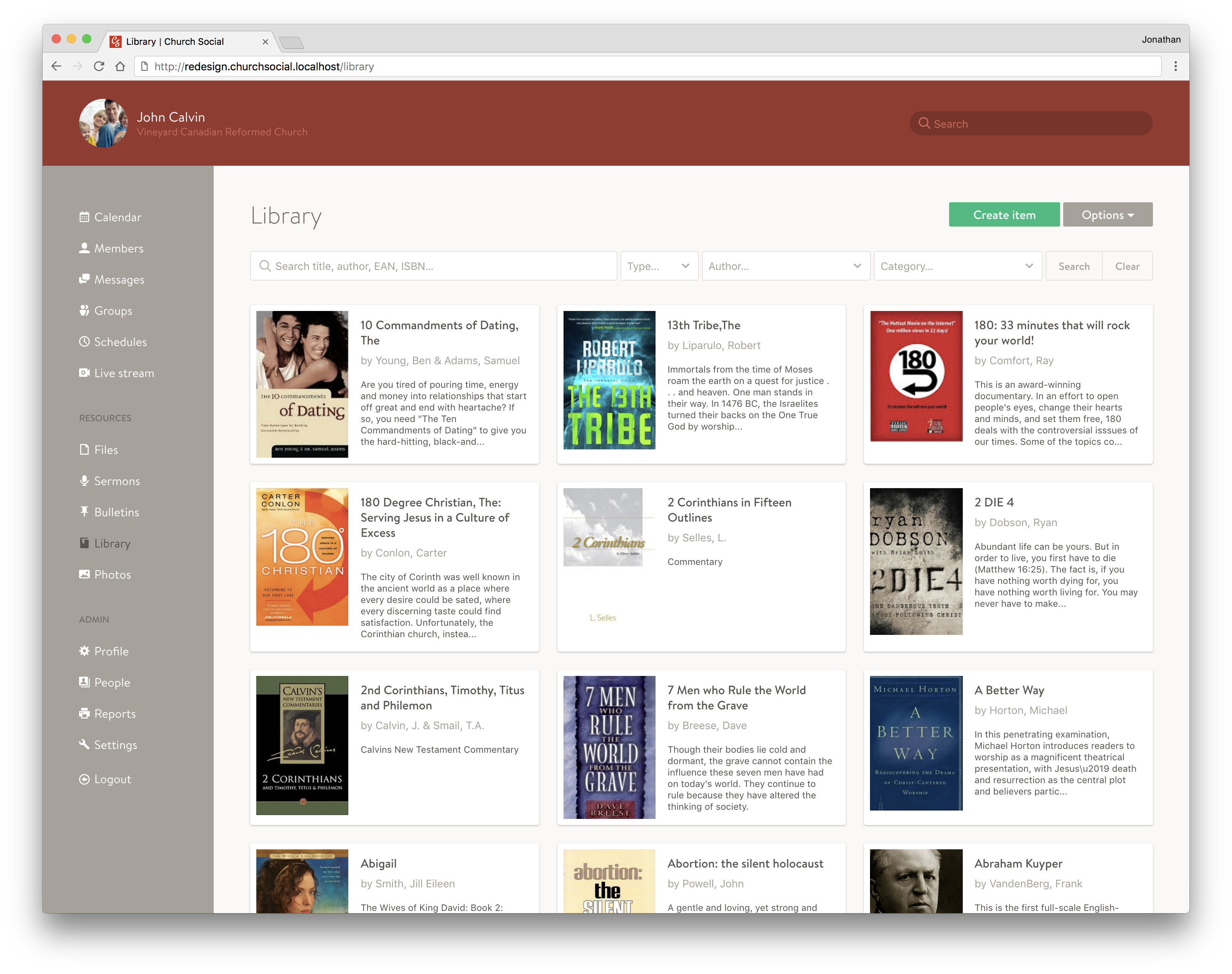 Screenshot of the library page
