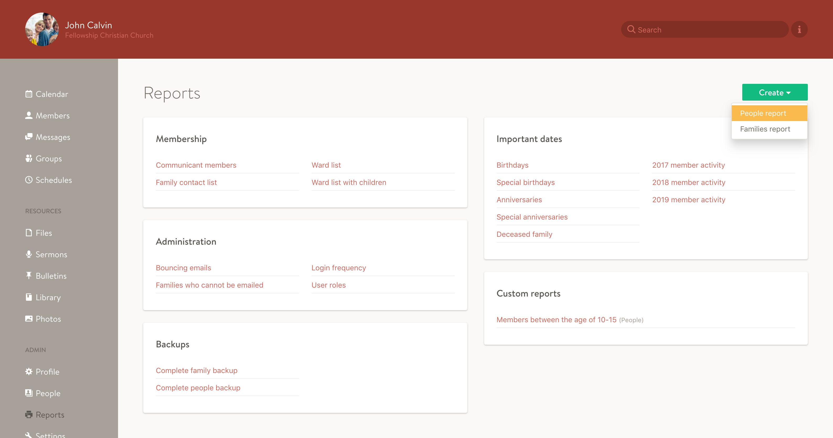 Screenshot of the new reports index page