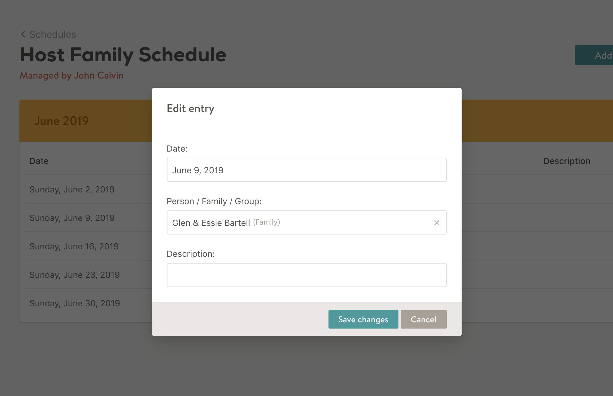 Screenshot of editing a schedule entry