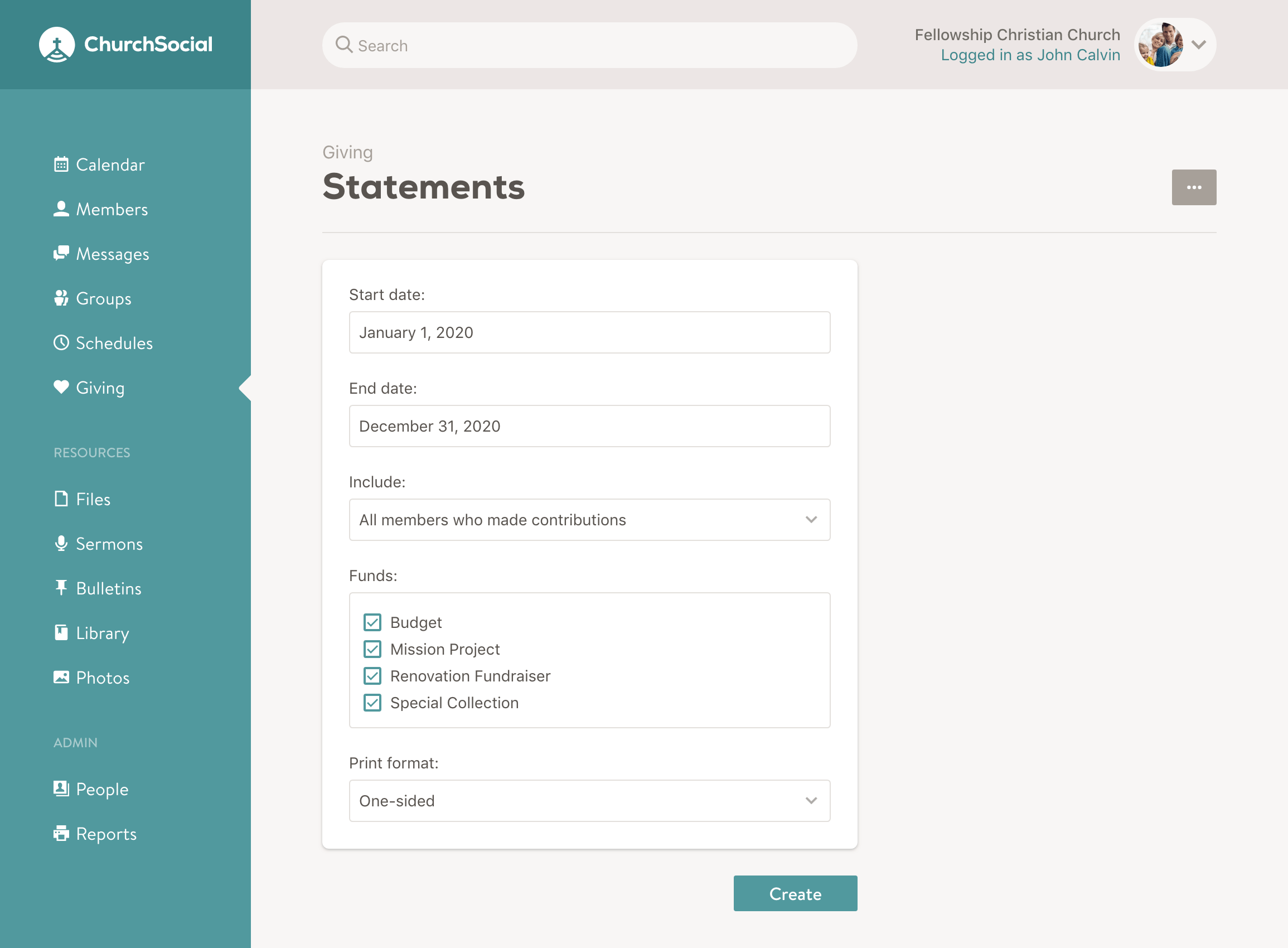 Screenshot of the create statements page