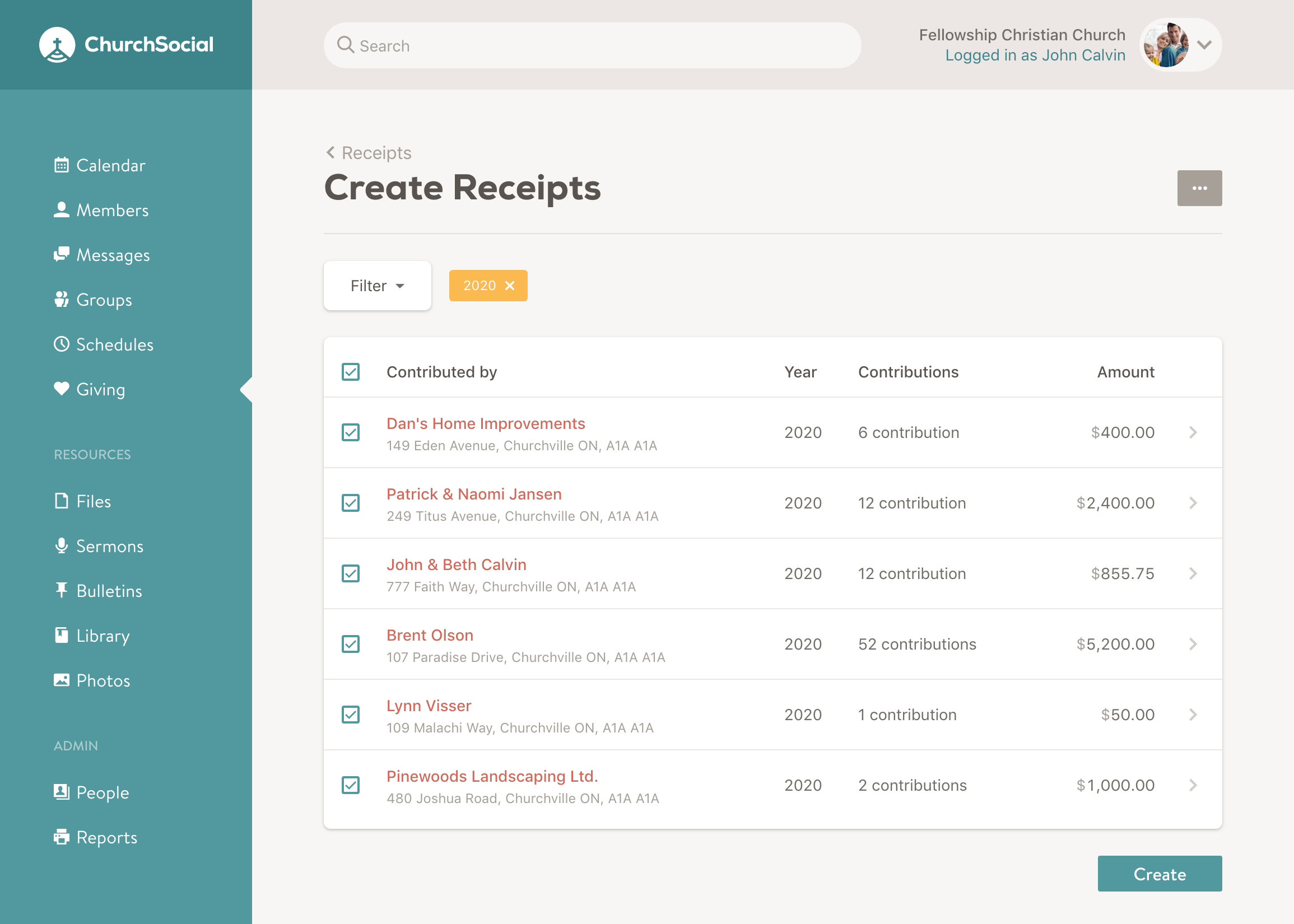 Screenshot of the create receipts page