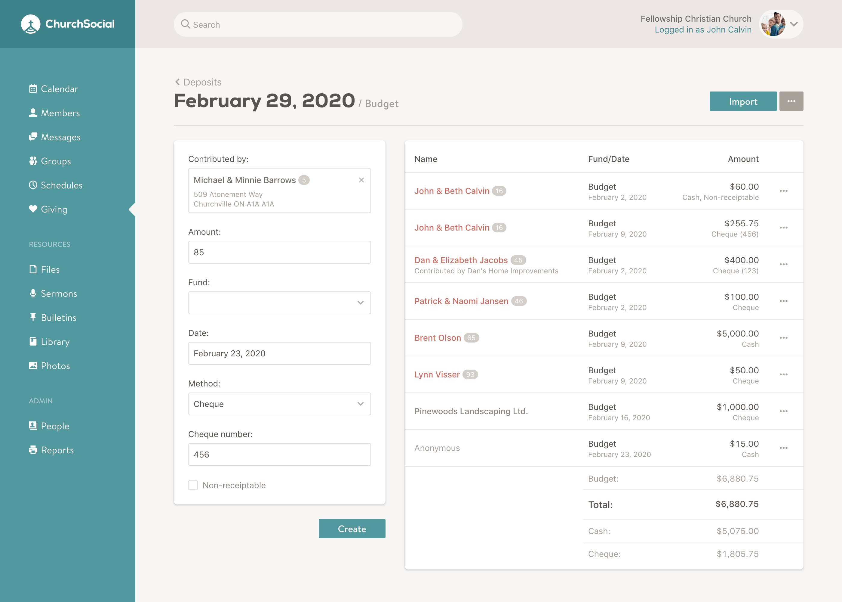 Screenshot of the deposit page