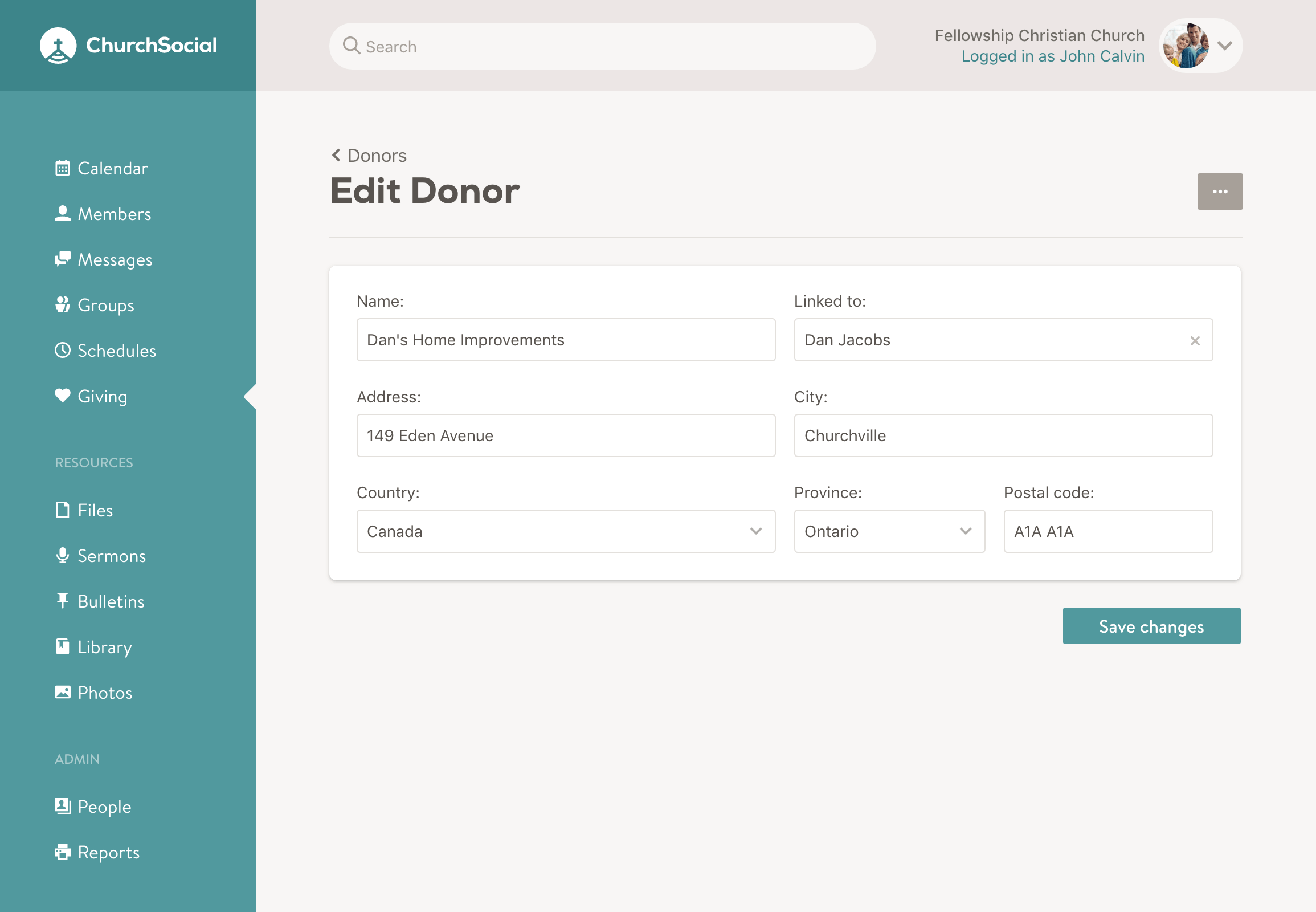 Screenshot of the edit donor page