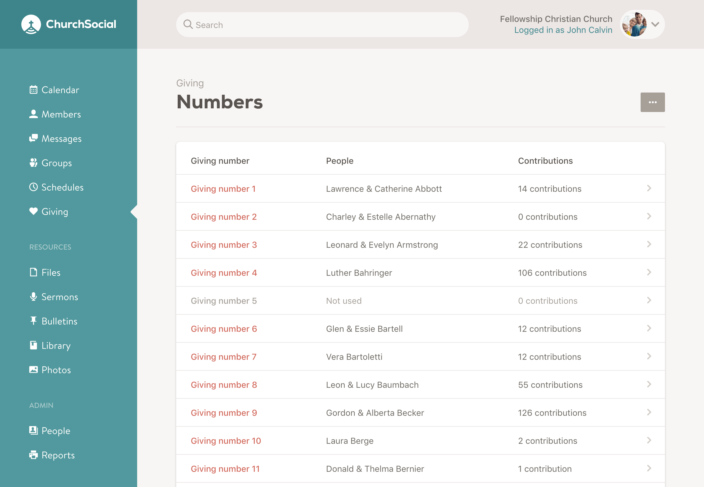 Screenshot of the giving numbers page