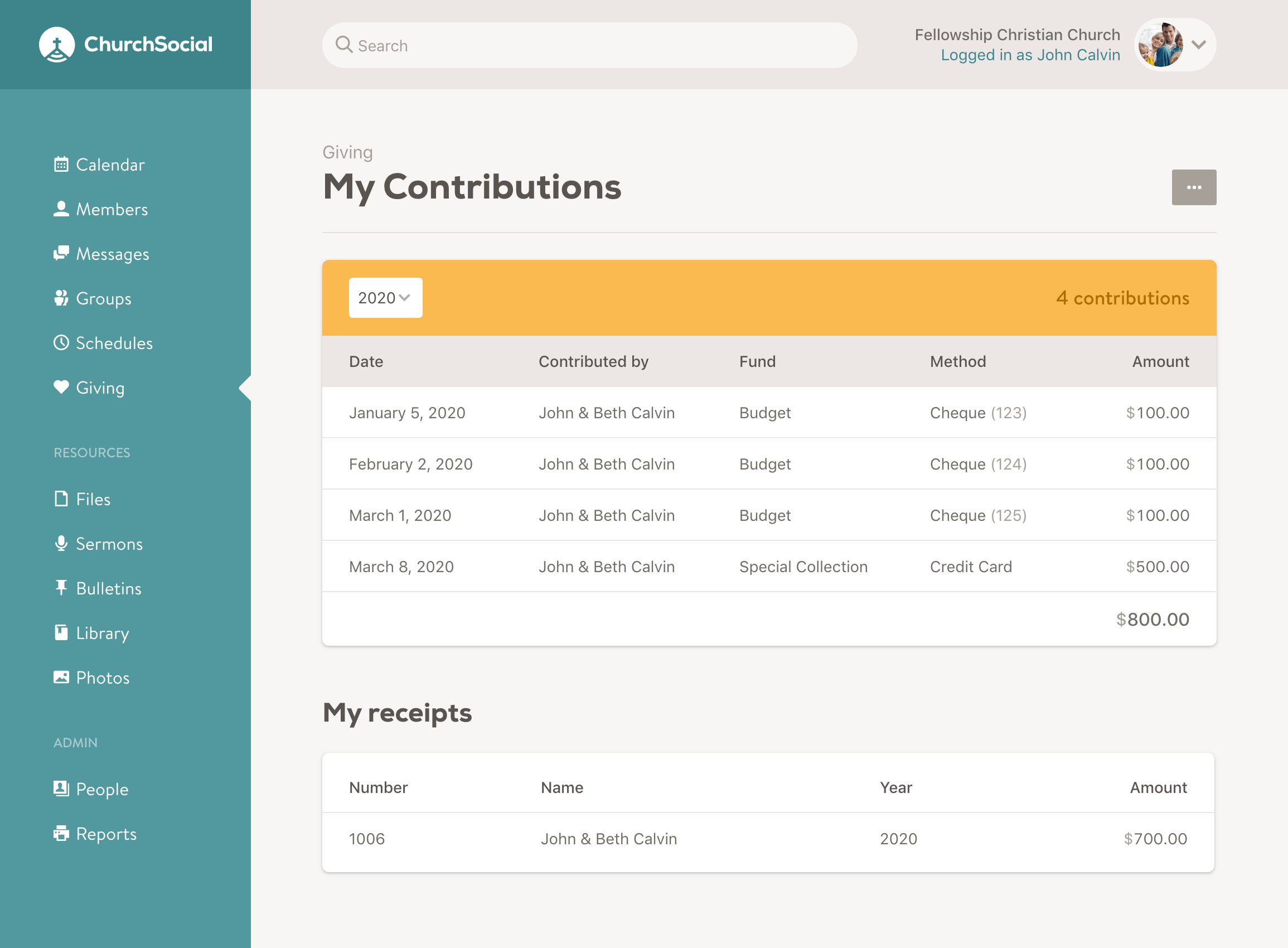 Screenshot of the my contributions page