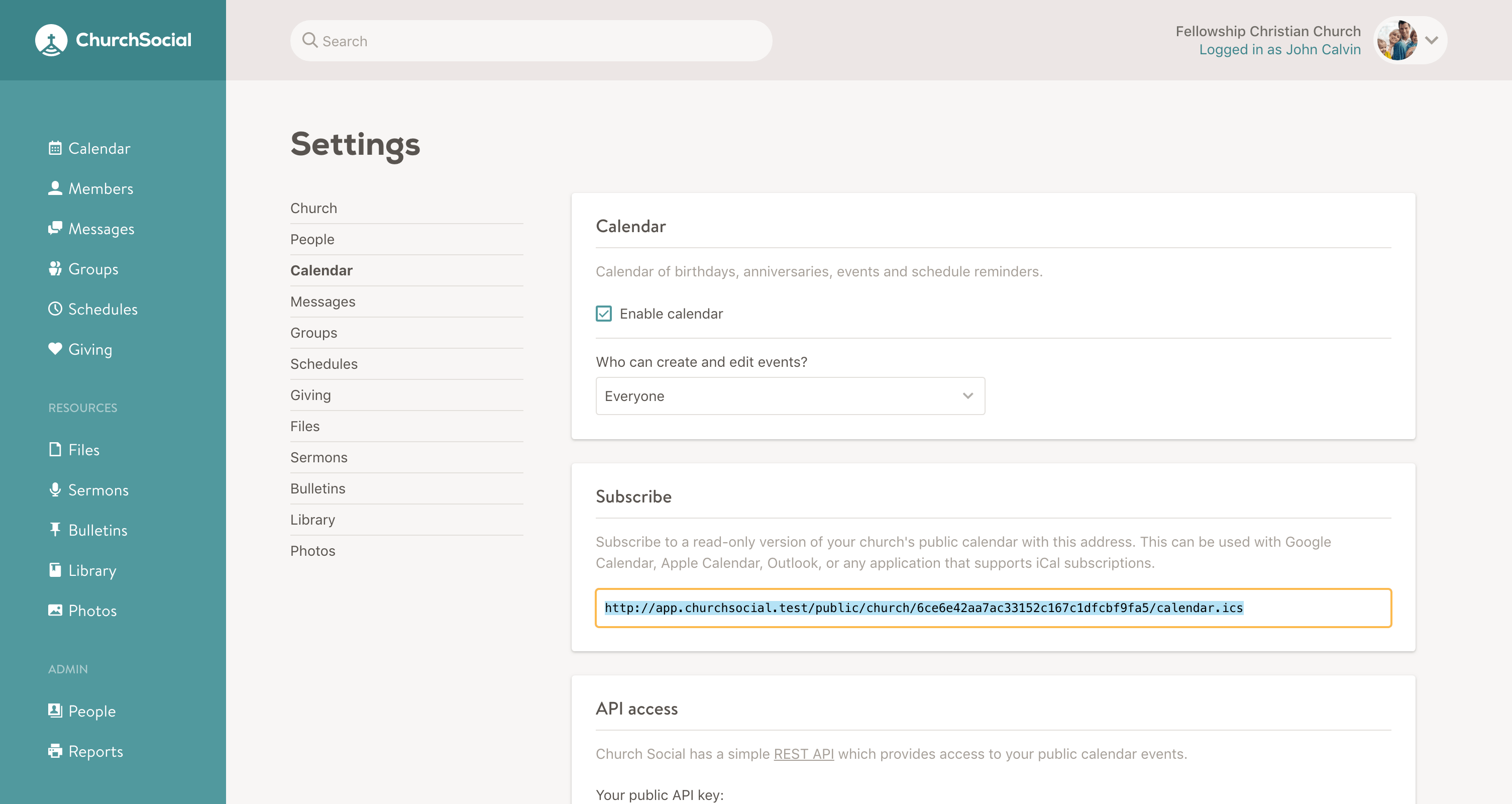 Screenshot of the calendar settings page