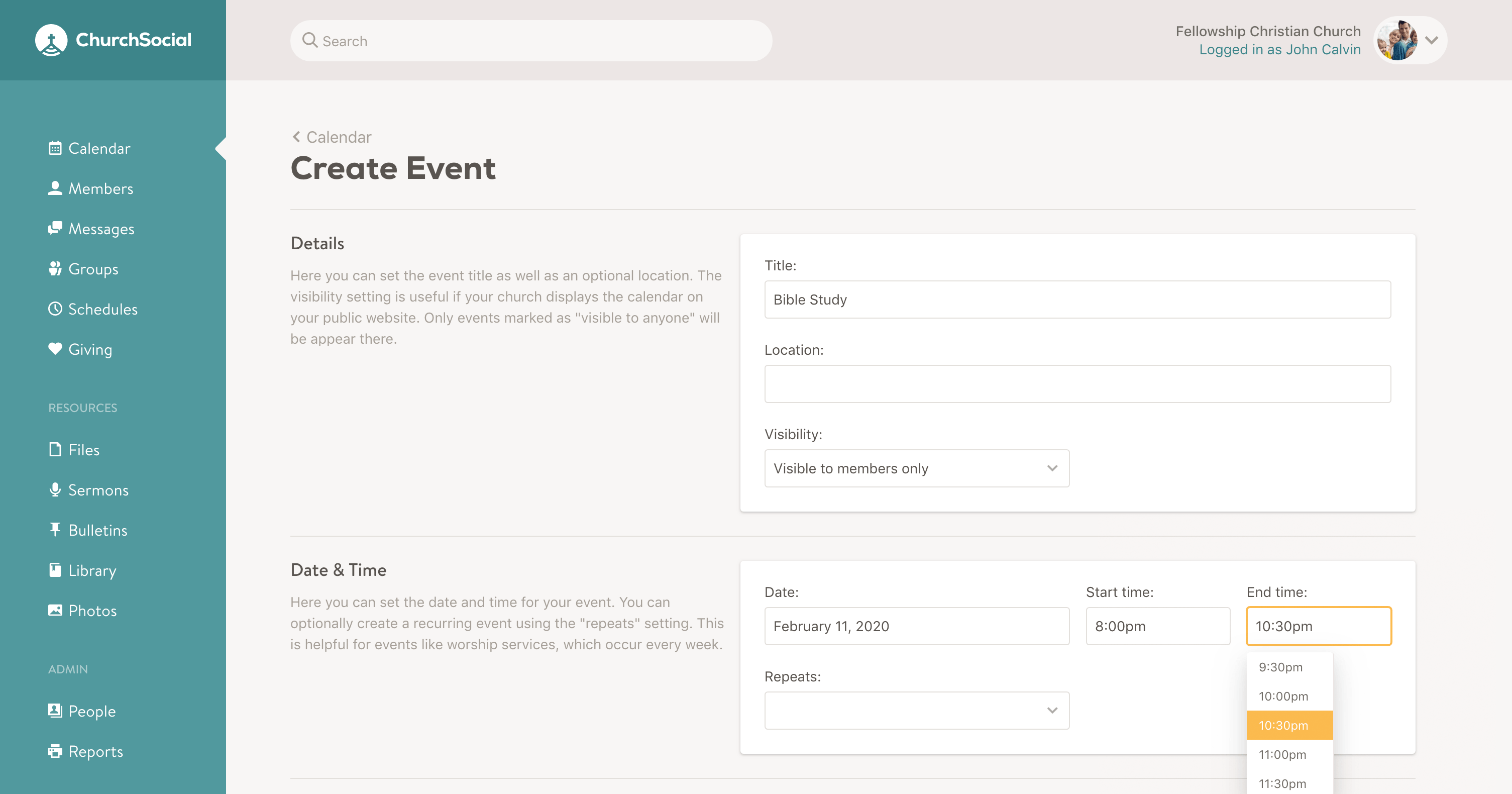 Screenshot of the end time option on the create event page