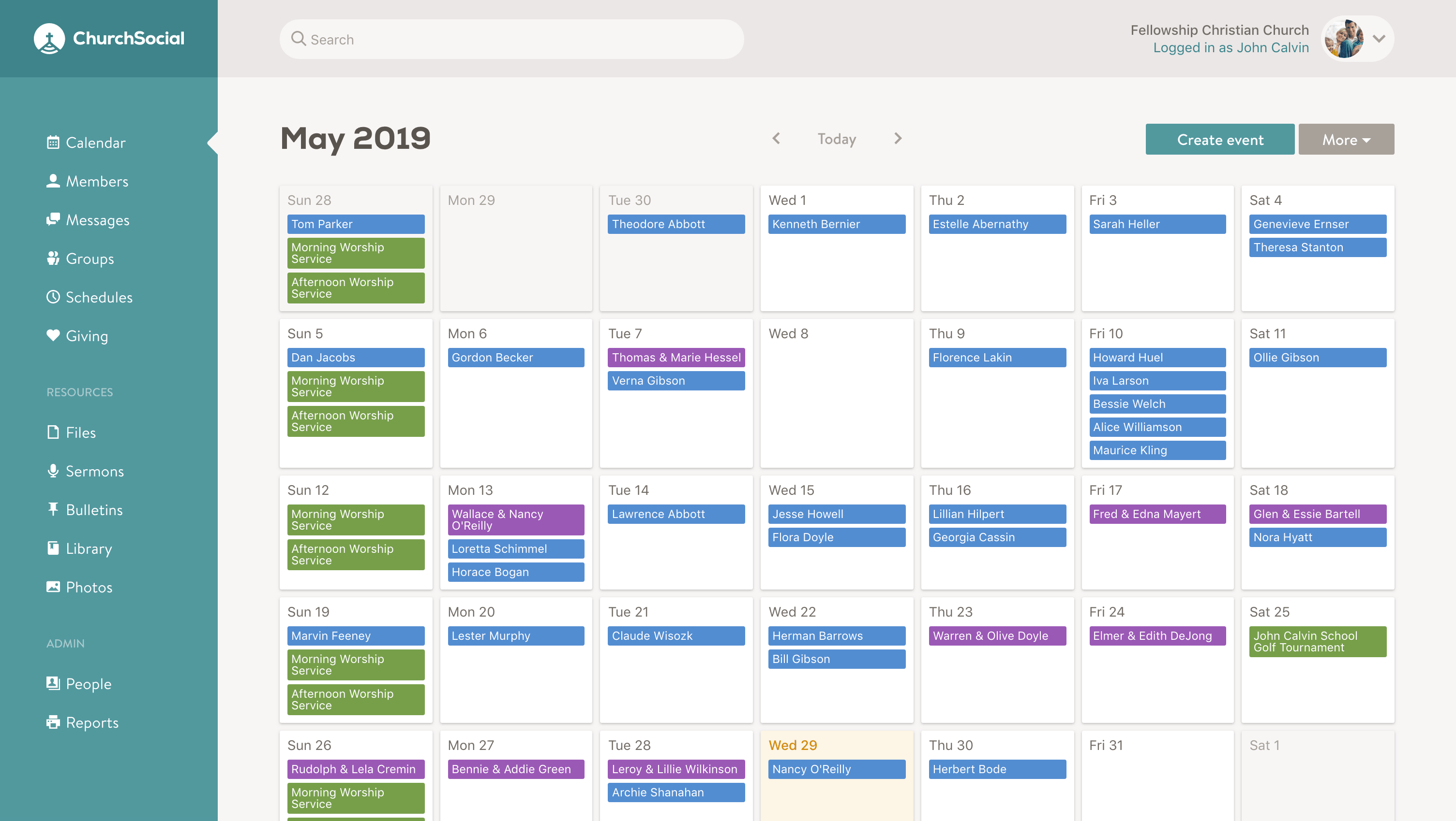 Screenshot of the calendar page
