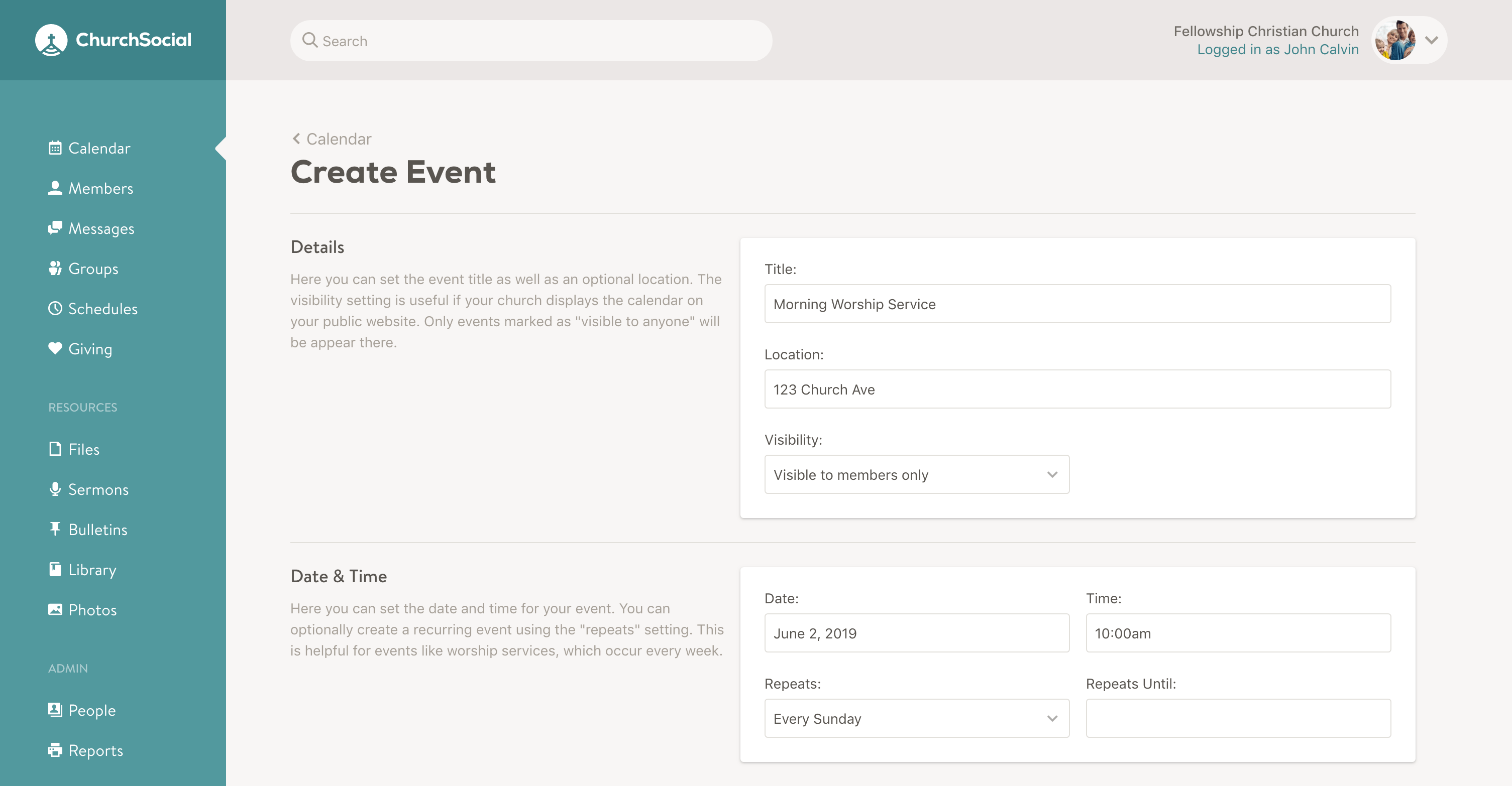 Screenshot of create event page