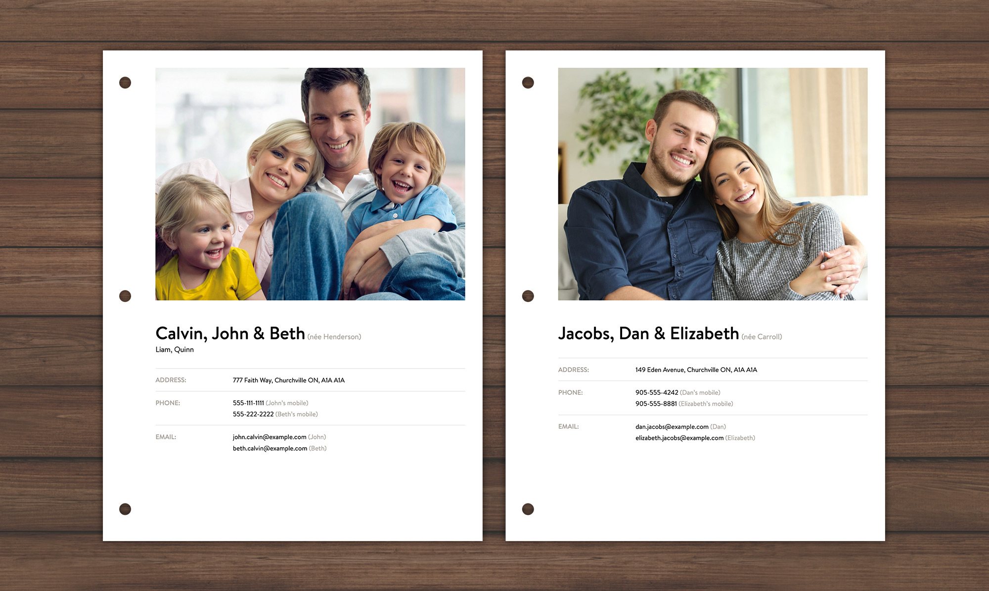 Screenshot of a printable family sheets