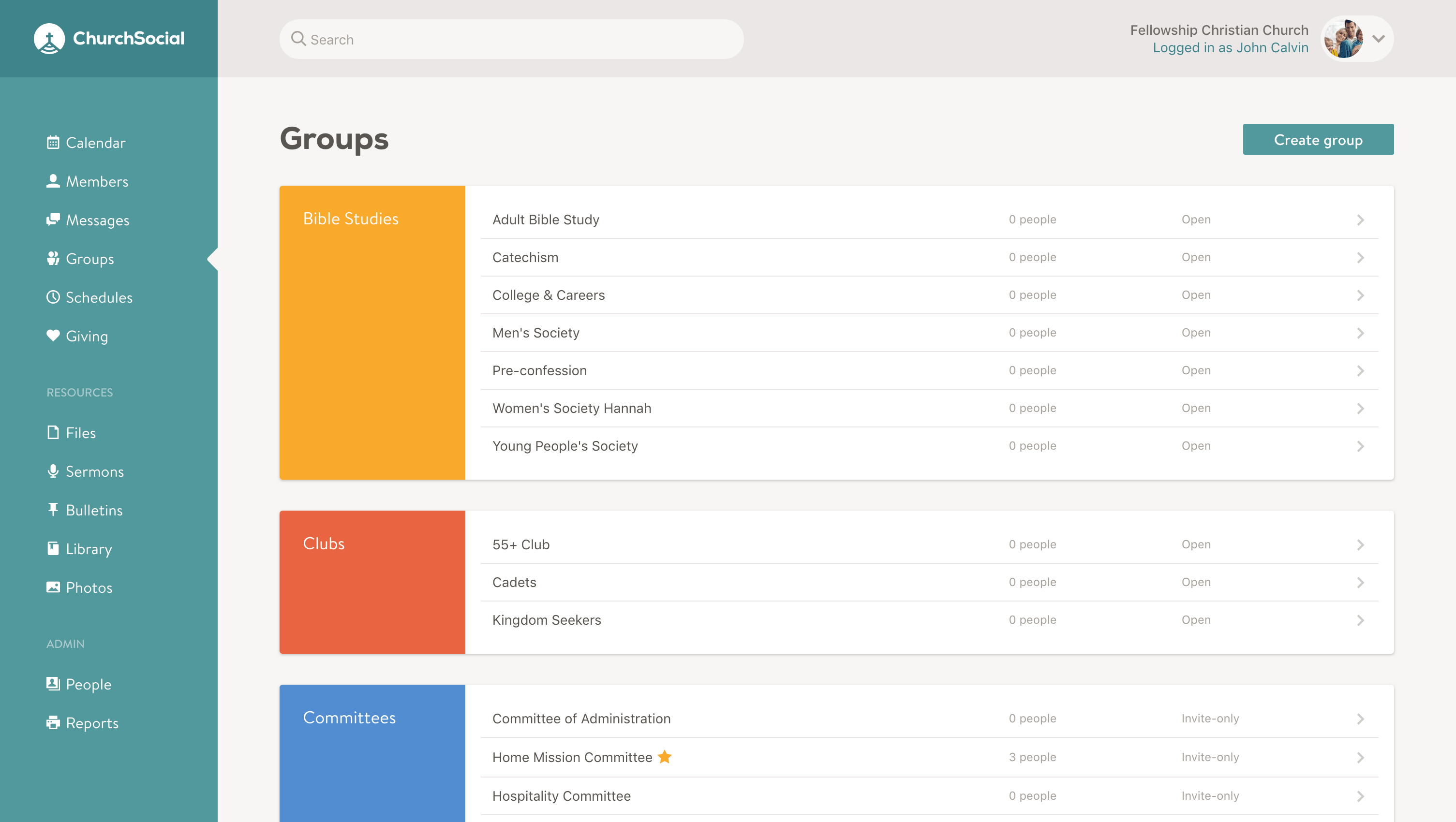 Screenshot of the groups page
