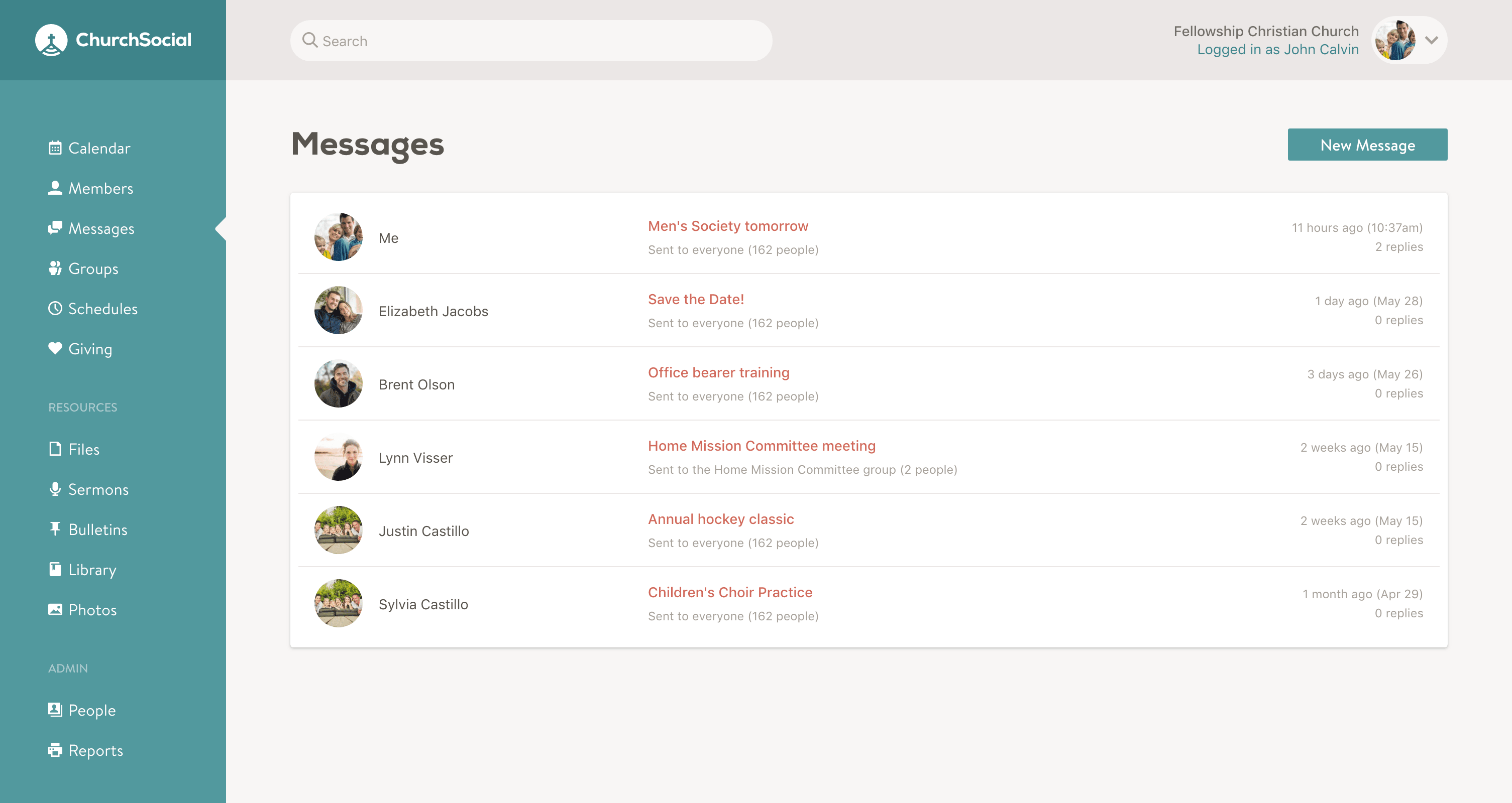 Screenshot of the messages page