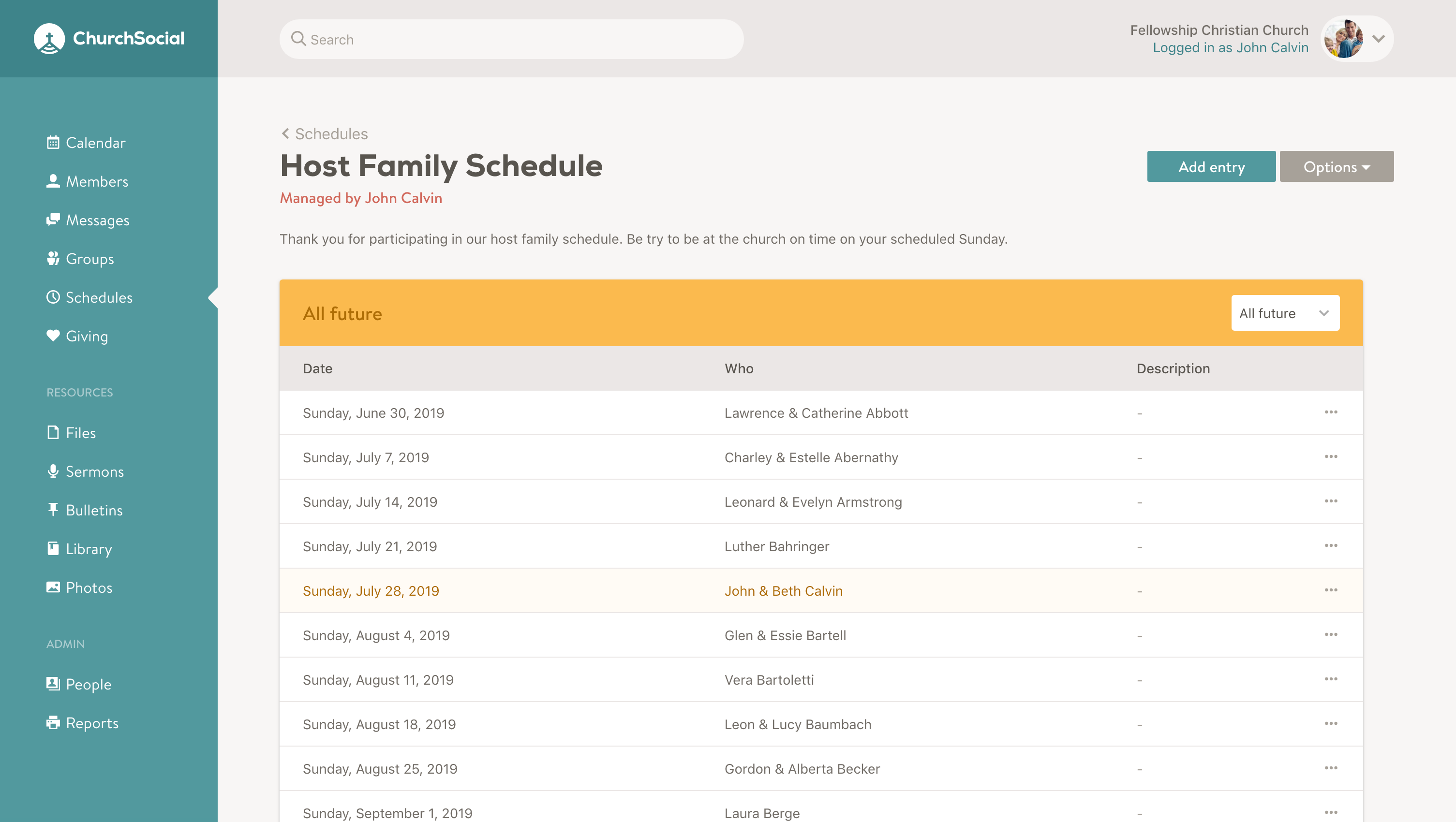 Screenshot of a schedule page