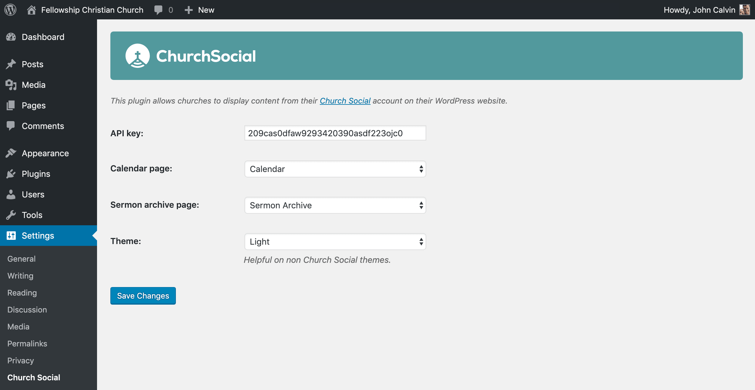 Screenshot of the Church Social WordPress plugin